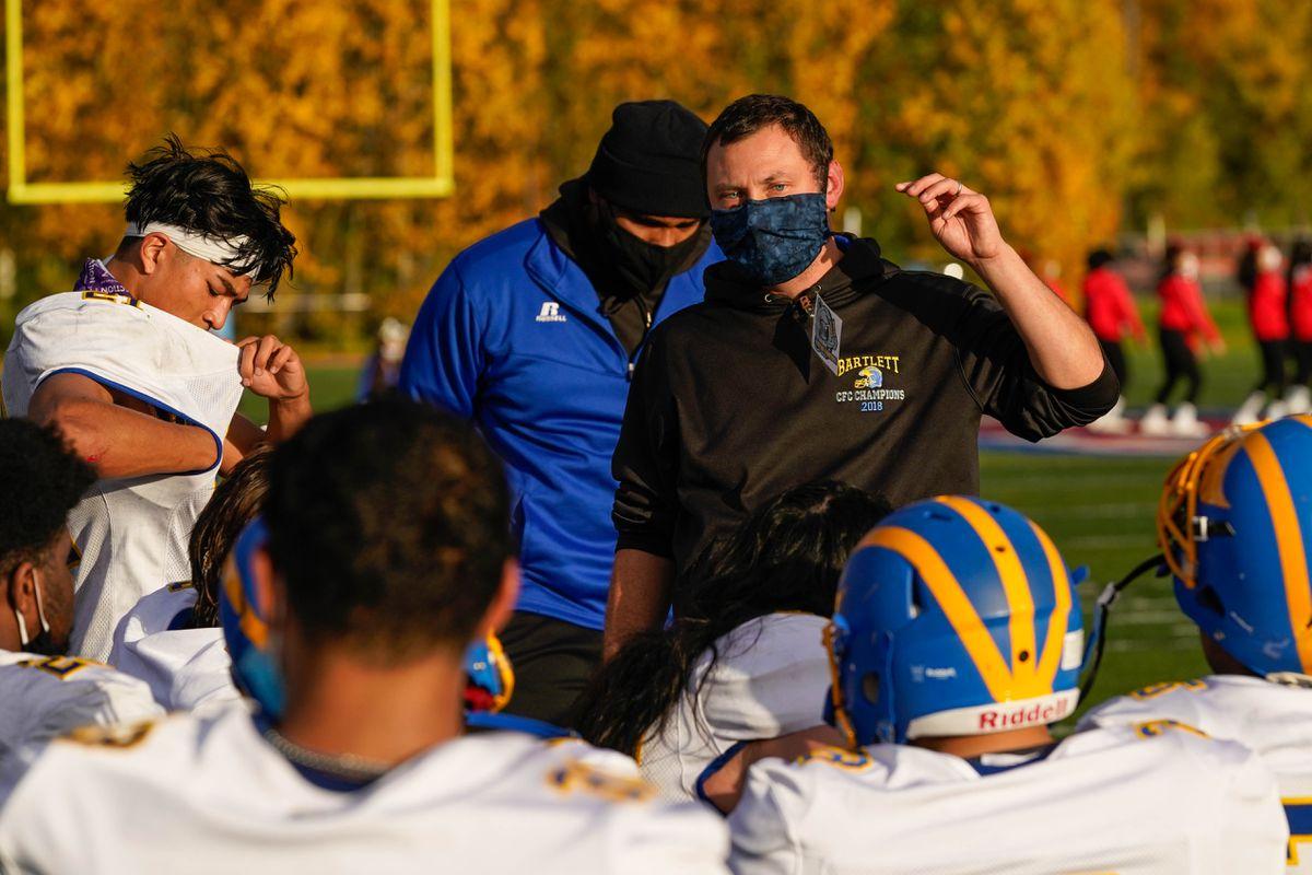 Bartlett Golden Bears coach Chance Matsuoka talks with his team during a game against the East Thunderbirds. (Loren Holmes / ADN)
