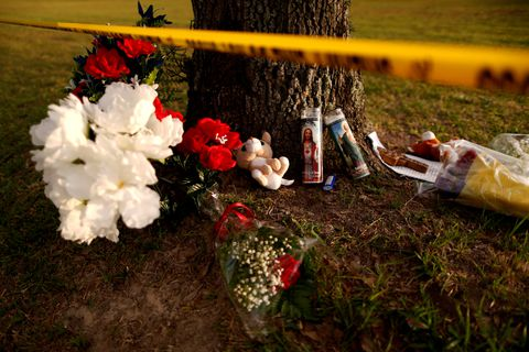 Makeshift memorials are seen left in memory of the victims killed in a shooting at the Santa Fe High School in Santa Fe, Texas, U.S., May 20, 2018. REUTERS/Jonathan Bachman