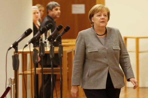 German Chancellor Angela Merkel of the Christian Democratic Union (CDU) during the exploratory talks about forming a new coalition government in Berlin, Germany, November 19, 2017. REUTERS/Axel Schmidt