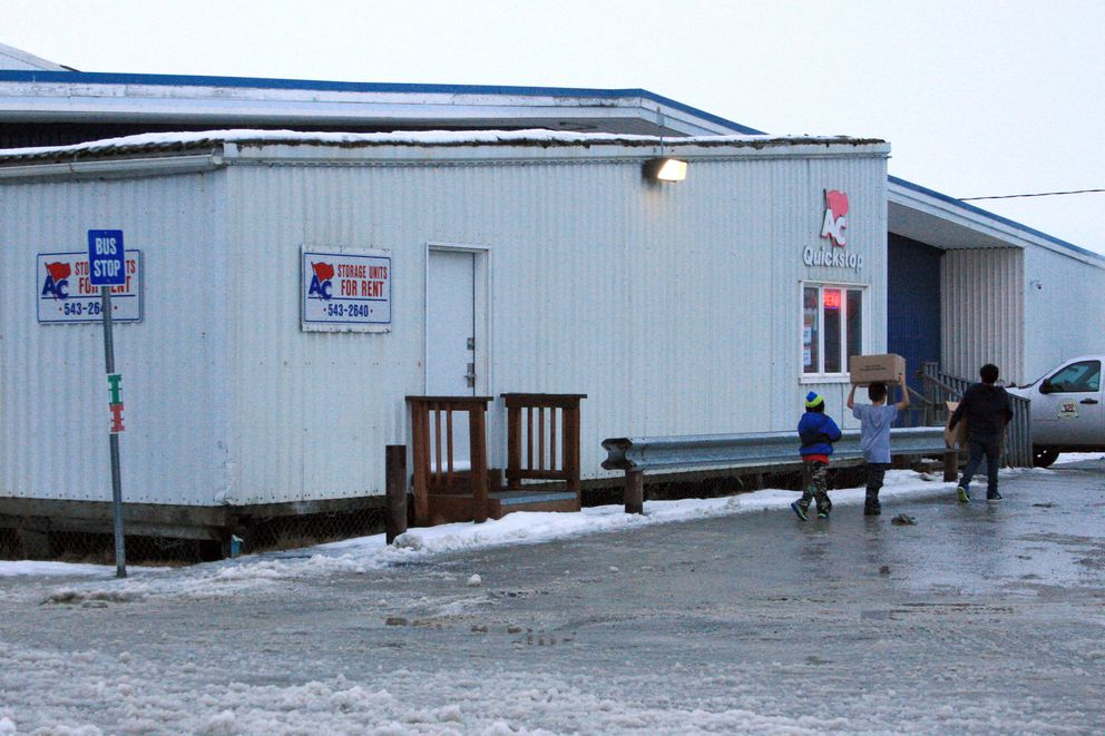 The AC Quickstop in Bethel, Alaska, is pictured on Thursday, Nov. 19, 2015. The state Alcoholic Beverage Control Board on Thursday approved a liquor store at the location, where the storage units now are housed. Alaska Commercial Co. will need two to four months or longer to ready the space for a store, an executive said Thursday.