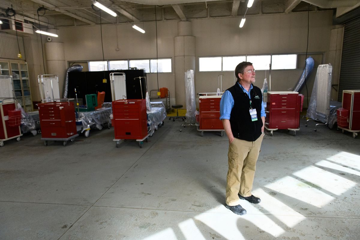 Sean Murphy, emergency management specialist for Alaska Regional Hospital, has overseen many of the ways the hospital has prepared for the impact of COVID-19, including transforming an ambulance bay into a care room for stable patients. (Marc Lester / ADN)