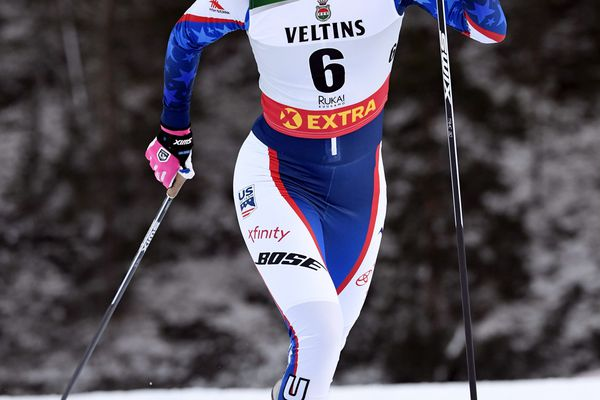 Sadie Bjornsen of the U.S. competes during Ladies' Cross Country Skiing Sprint Qualification at FIS Nordic Skiing World Cup in Ruka, Finland, Saturday, Nov. 24, 2018. (Markku Ulander/Lehtikuva via AP)