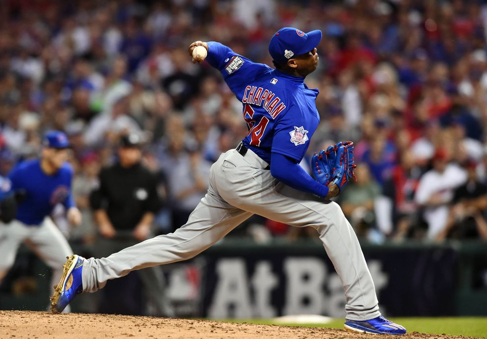 Chicago Cubs relief pitcher Aroldis Chapman throws against the Cleveland Indians in the 8th inning in game seven of the 2016 World Series at Progressive Field. Ken Blaze-USA TODAY Sports