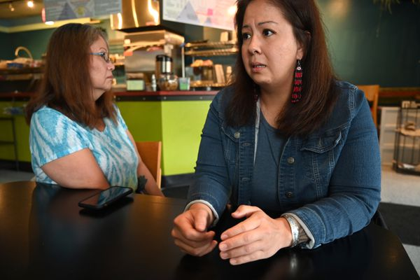 Jaclyn Welcome's sister, Desiree Montenegro (right) and mother, Genevieve Nathan talk about Jaclyn after she was killed downtown early Saturday morning, June 19, 2021. (Anne Raup / ADN)
