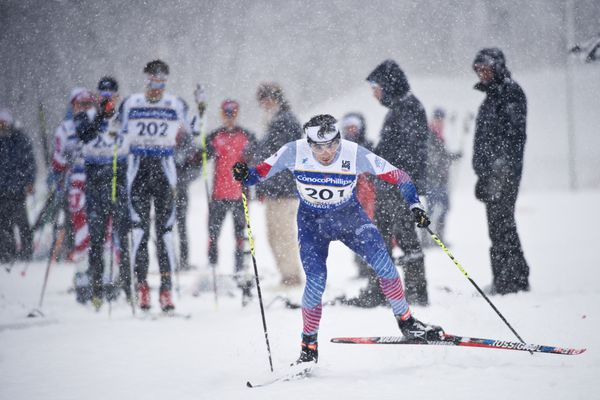 Jack Hegman, of Sun Valley, begins his race. Men raced a 15-kilometer freestyle race at the 2018 U.S. Cross Country Ski Championships at Kincaid Park on January 3, 2018. (Marc Lester / ADN)