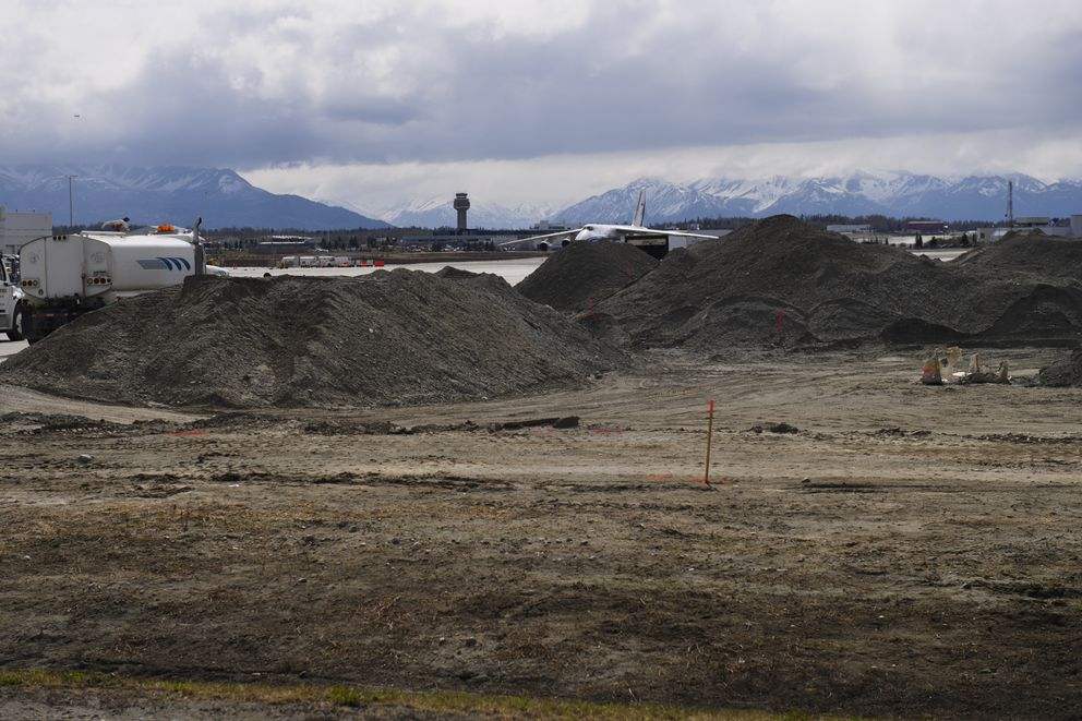 An area under construction at Ted Stevens Anchorage International Airport will result in FedEx ramp that will accommodate expansion, according to airport officials. Photographed on May 11, 2021. (Marc Lester / ADN)