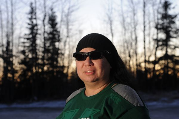Samantha Atlas, who works as a psychiatric nursing assistant III at API, was assaulted by a patient in Nov. 2016 and is still recovering from her injuries on Tuesday, Dec. 26, 2017. Atlas wears sunglasses because of the brain injury she sustained in the attack. (Bill Roth / ADN)