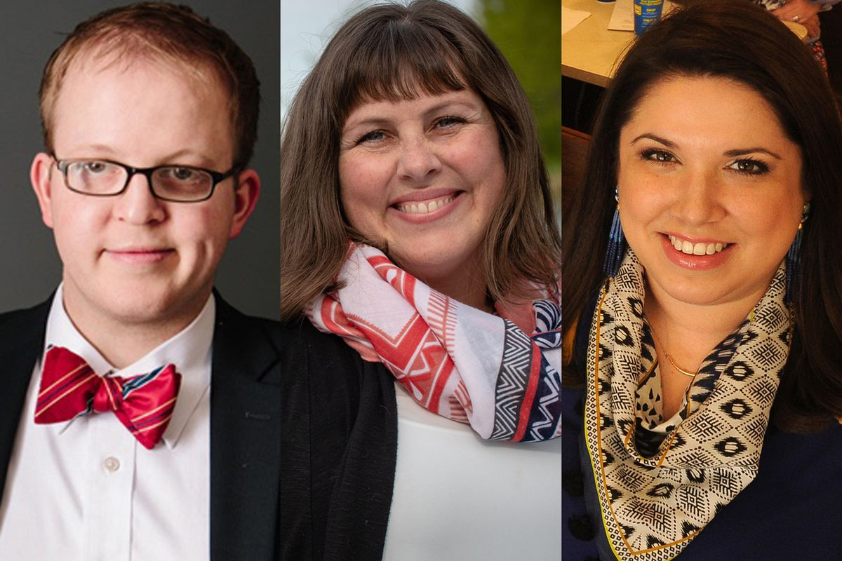 West Anchorage Assembly candidates (from left) Sam Moore, Austin Quinn-Davidson and Nikki Rose