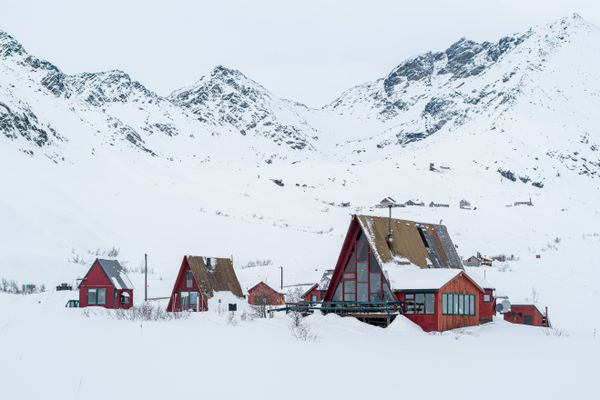 """Hatcher Pass Lodge, photographed on Wednesday, Feb. 17, 2021. The lodge closed after its founder, Karl Albert """"Hap"""" Wurlitzer, died in October, but has since reopened. (Loren Holmes / ADN)"""