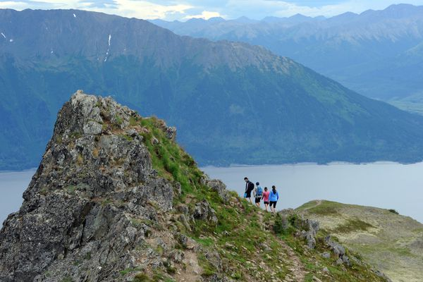 Hikers near the top of Bird Ridge above Turnagain Arm in July.
