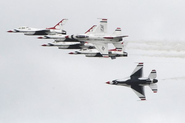 The U.S. Air Force Thunderbirds arrived at Joint Base Elmendorf-Richardson on Wednesday, June 27, 2018, and will perform this weekend during the Arctic Thunder Open House. (Bill Roth / ADN)