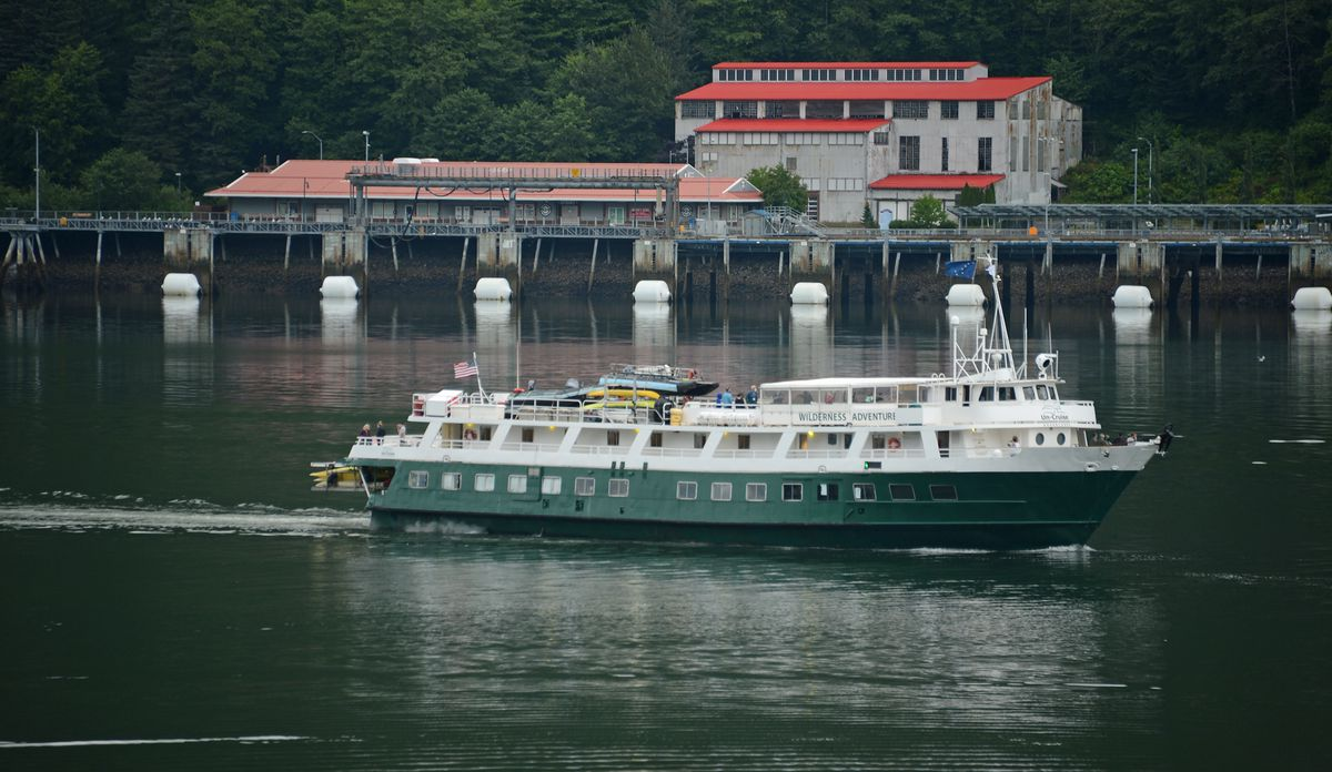 The UnCruise Adventures ship Wilderness Adventurer departs the Port of Juneau on Saturday, Aug. 1, 2020. The ship was the first of Alaska's COVID-abbreviated tourist season. (James Brooks / ADN)