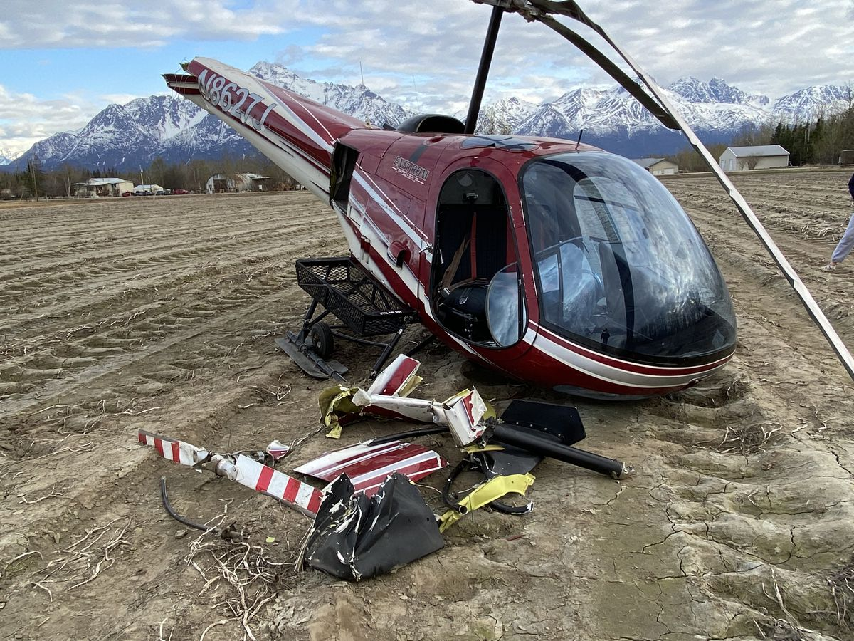 An Enstrom F-28 helicopter crashed on May 9, 2021 in Palmer after leaving from the state fairgrounds for a short sightseeing tour during an aviation tradeshow. Photo by Kay Bush