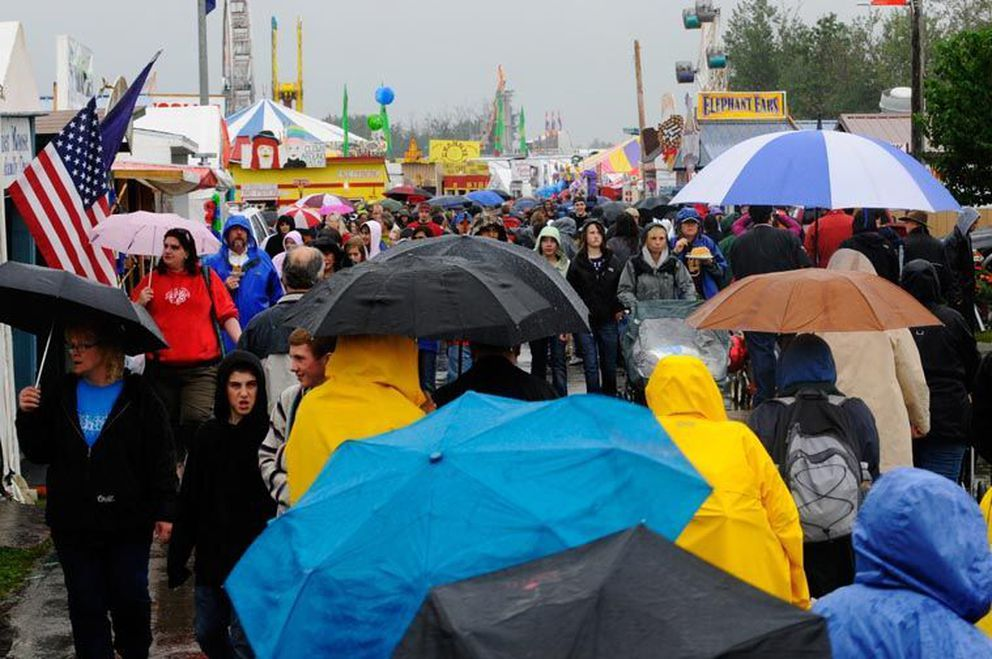 The Alaska State Fair drew a crowd on Saturday, August 28, 2010, despite rain throughout the day.
