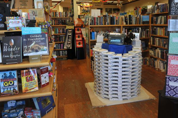 """A display of author Eowyn Ivey's 2nd novel """"To the Bright edge of the World,"""" is front and center at Fireside Books in Palmer, Alaska, on Thursday, September 29, 2016. Ivey worked at the independent bookstore as a bookseller for nearly a decade. (Bob Hallinen / Alaska Dispatch News)"""