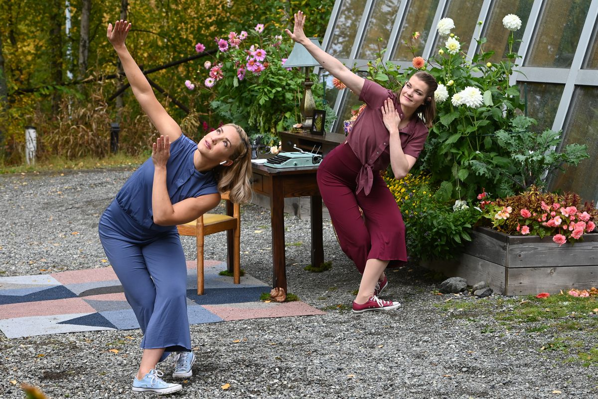 Momentum Dance Collective dancers Cara Rude, left, and Karlyn Glidewell performed at the Alaska Botanical Garden on Sunday, Sept. 20, 2020. (Bill Roth / ADN)