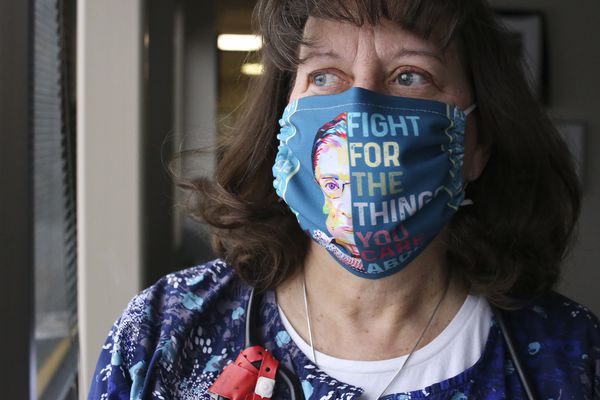 Donna Phillips, who has been an RN in Anchorage for more than 40 years and who also serves as the labor representative for the state nurse union, at her office in Anchorage on Nov. 6, 2020. (Emily Mesner / ADN)