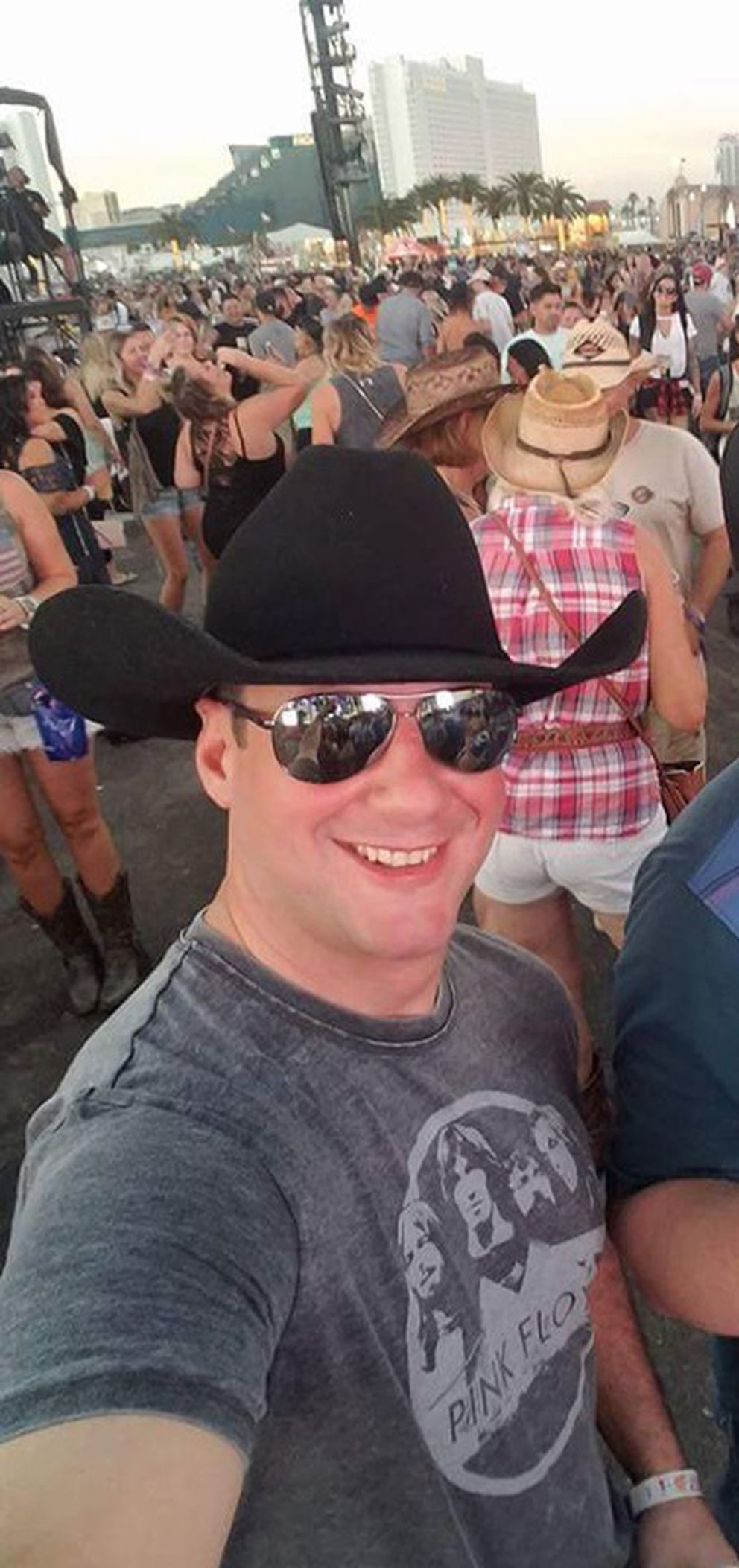 Adrian Murfitt, 35, was a victim of the Las Vegas shooter Stephen Paddock, Oct.1 , 2017. He made this selfie at the Oct. 1 concert. (Courtesy Avonna Murfitt)