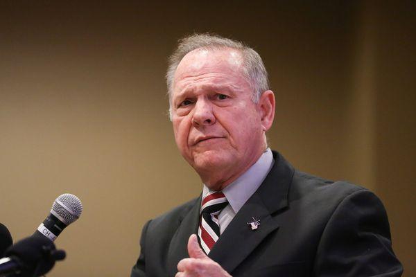 Judge Roy Moore participates in the Mid-Alabama Republican Club's Veterans Day Program in Vestavia Hills, Alabama, U.S., November 11, 2017. REUTERS/Marvin Gentry