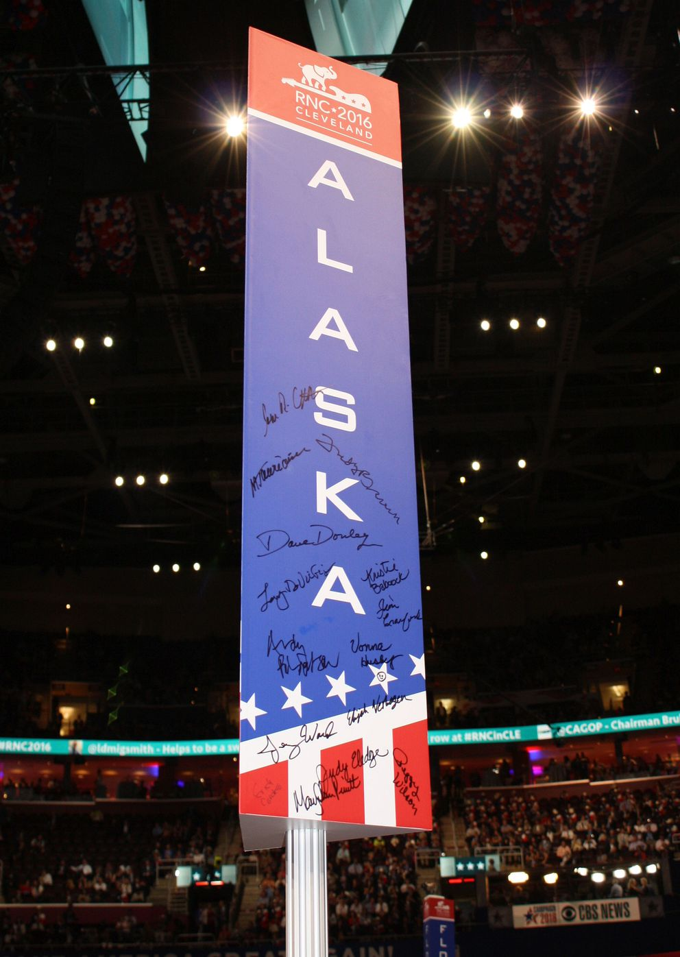 The sign designating the Alaska delegation's seating section at the 2016 Republican National Convention in Cleveland, Ohio, on July 18, 2016. (Erica Martinson / Alaska Dispatch News)