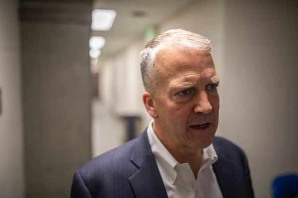 Senator Dan Sullivan, R-Alaska, speaks to members of the media on Saturday, Oct. 19, 2019 during the Alaska Federation of Natives convention at the Carlson Center in Fairbanks. (Loren Holmes / ADN)