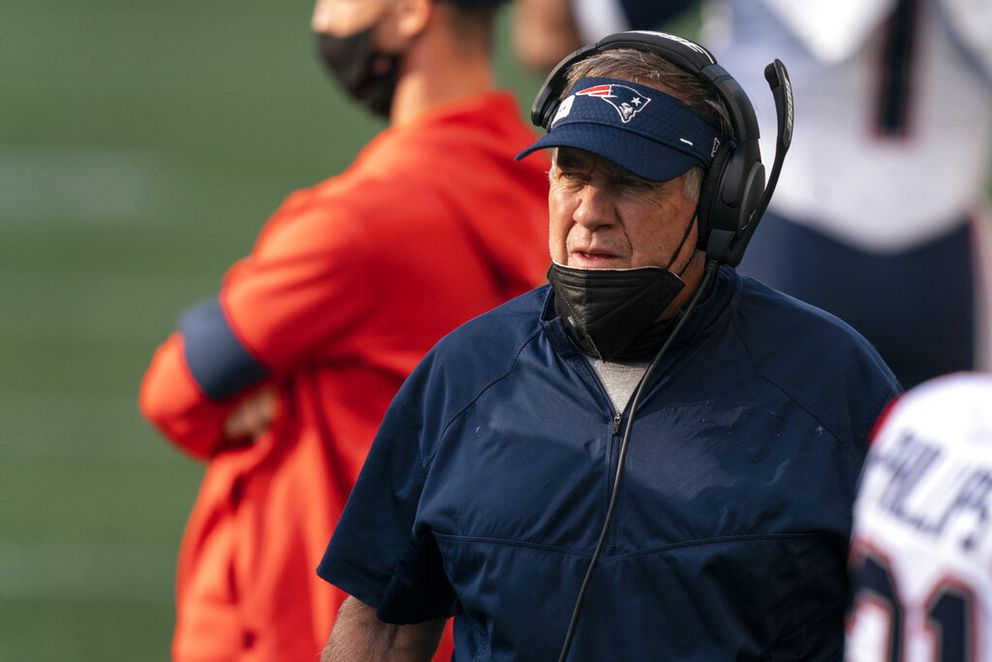 New England Patriots head coach Bill Belichick is pictured on the sideline before an NFL football game against the Seattle Seahawks, Sunday, Sept. 20, 2020, in Seattle. The Seahawks won 35-30. (AP Photo/Stephen Brashear)
