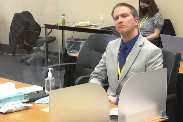 In this image from video, former Minneapolis police Officer Derek Chauvin listens as his defense attorney Eric Nelson gives closing arguments as Hennepin County Judge PeterCahill preside Monday, April 19, 2021, in the trial of Chauvin at the Hennepin County Courthouse in Minneapolis. Chauvin is charged in the May 25, 2020 death of George Floyd. (Court TV via AP, Pool)