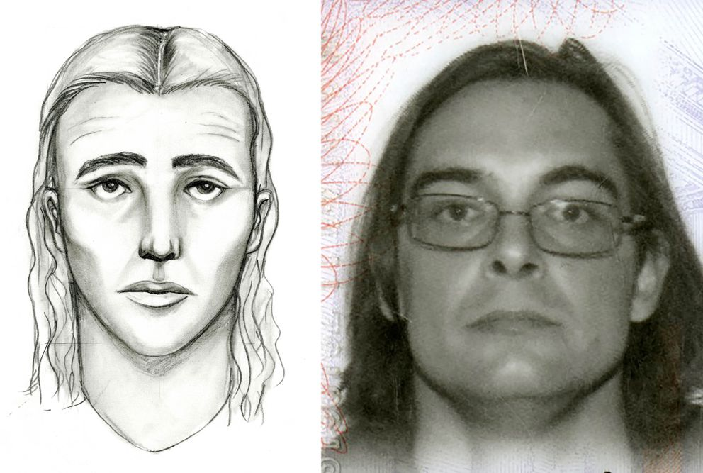 At left, a police sketch depicts a 'person of interest' in the slaying of Treyveonkindell Thompson on July 29, 2016. At right is a handout photo of James Dale Ritchie, who was killed by police Saturday after a police officer was shot downtown. Police recovered a handgun at the scene of that shooting linked to five other homicides, including that of Thompson. Police said they have not yet determined if Ritchie is the person who killed Thompson. (Handout photos / Anchorage Police Department)