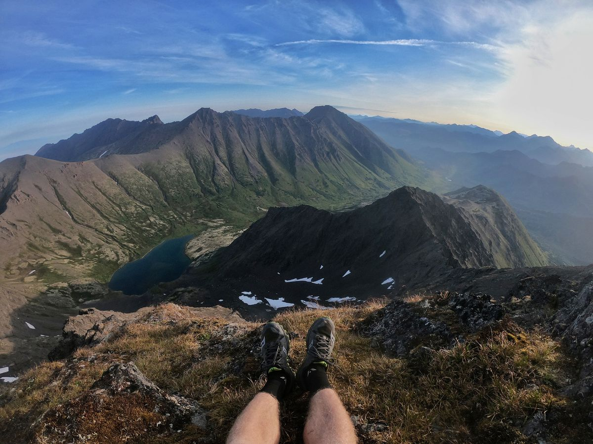 Lars Arneson looks north from Avalanche Mountain on Thursday during his 12-peaks Challenge run. (Photo by Lars Arneson)