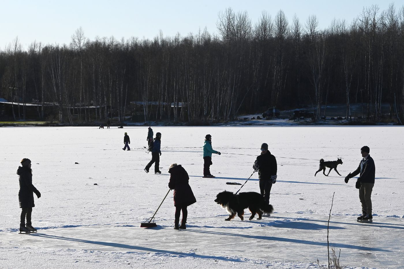 People took advantage of the cold weather and sunshine to ice skate at Mirror Lake on Sunday, Nov. 1, 2020. (Bill Roth / ADN)