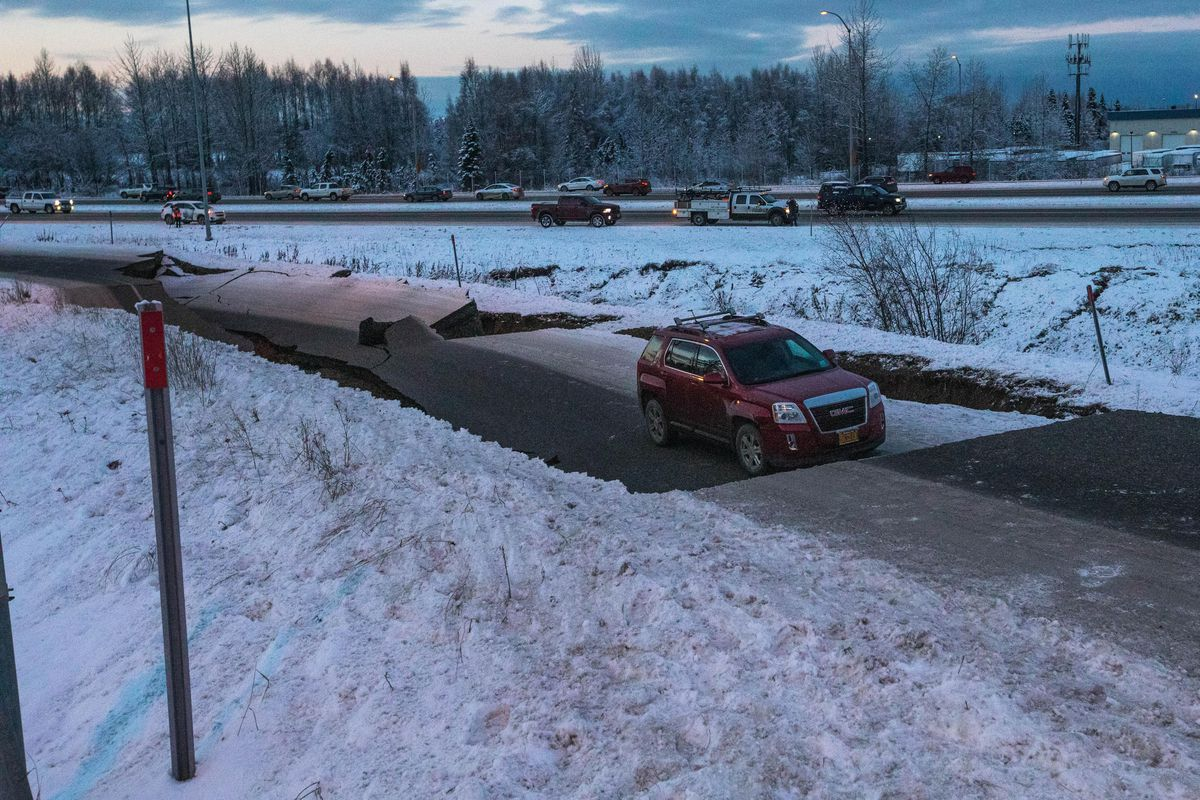 The northbound onramp for International Airport Rd. at Minnesota Blvd. collapsed Friday morning, Nov. 30, 2018 after a strong earthquake shook southcentral Alaska. (Loren Holmes / ADN)