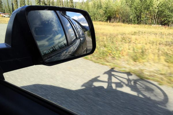 Mountain bikes ride atop a truck. Mountain biking in the Yukon 2015. (Anne Raup / ADN)