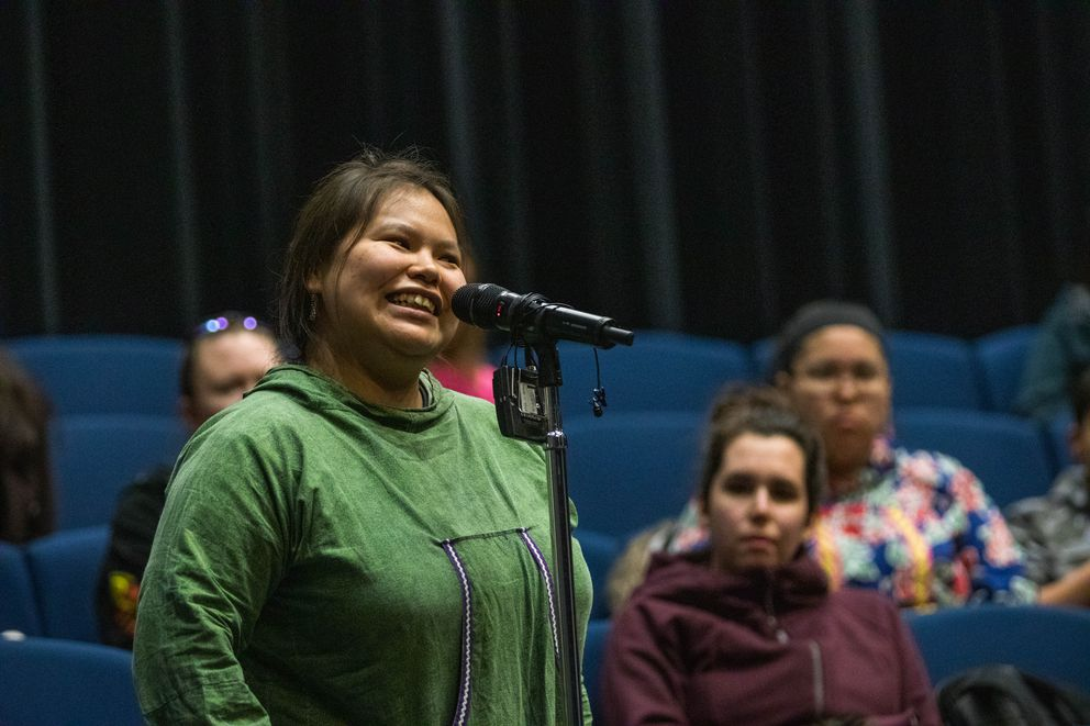 University of Alaska Anchorage senior Lorrene Chiklak speaks to the UAA Board of Regents at a listening session Tuesday, Feb. 12, 2019 at the Wendy Williamson Auditorium. Chiklak asked the board to support her and other aspiring Alaska Native teachers. (Loren Holmes / ADN)