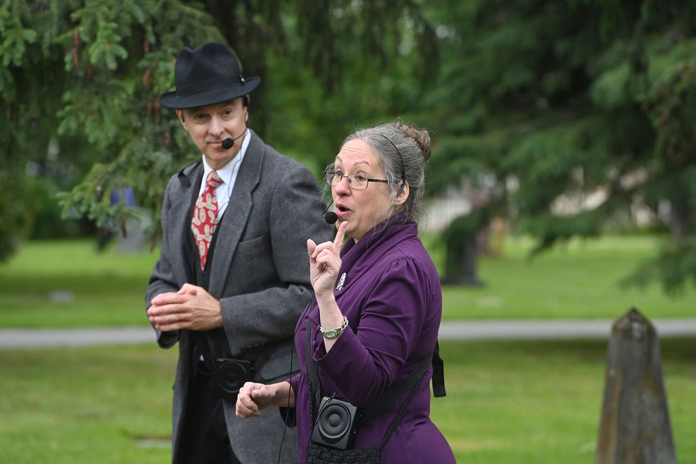 Actors Todd Sherwood and Jane Baird portrayed banker, attorney and businessman Warren and Lucy Cuddy during the 10th annual Stories at the Cemetery at Anchorage Memorial Park Cemetery on Sunday, July 11, 2021. (Bill Roth / ADN)