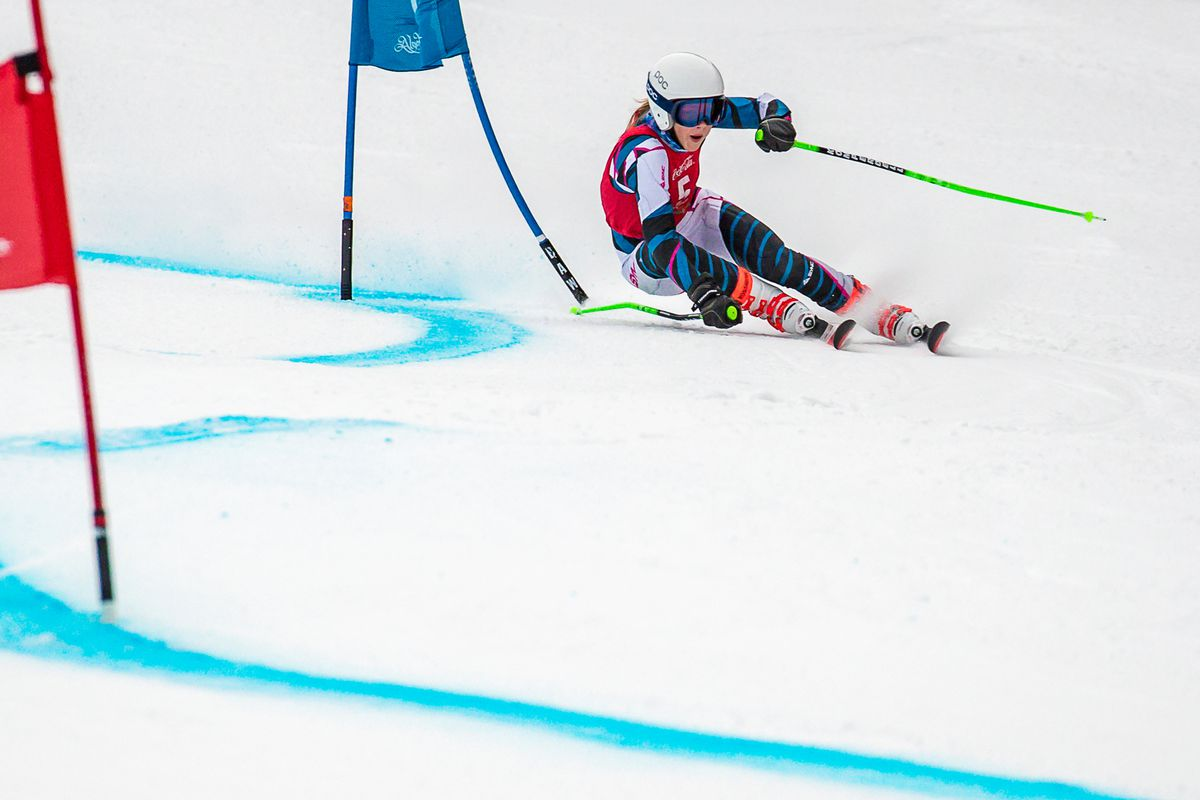 Randi Von Wichman arcs past a blue gate and heads for the red on her way to a sweep of two giant slalom races Saturday at Alyeska. (Photo by Bob Eastaugh)