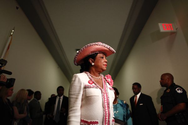 Rep. Frederica Wilson (D-Fla.) arrives to the forum attended by Sybrina Fulton and Tracy Martin, parents of slain Florida teenager Trayvon Martin, on Capitol Hill in Washington, March 27, 2012. The forum, sponsored by Democratic members of the House Judiciary Committee, focused on racial profiling, hate crimes and