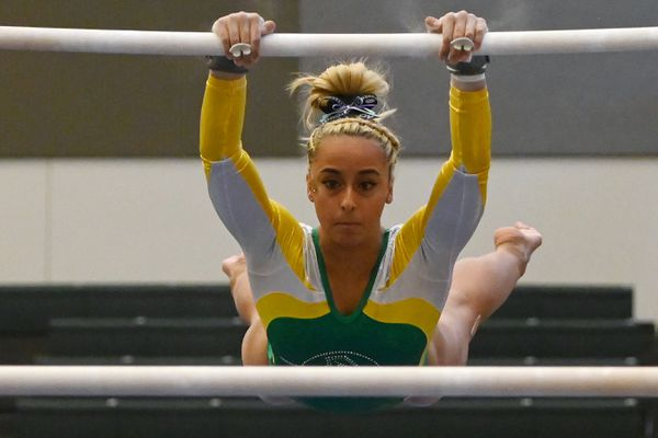 UAA senior Sophia Hyderally scored a 9.825 on the uneven parallel bars during the Seawolves dual-meet loss to Southeast Missouri State at the Alaska Airlines Center on Sunday, Jan. 12, 2020. (Bill Roth / ADN)