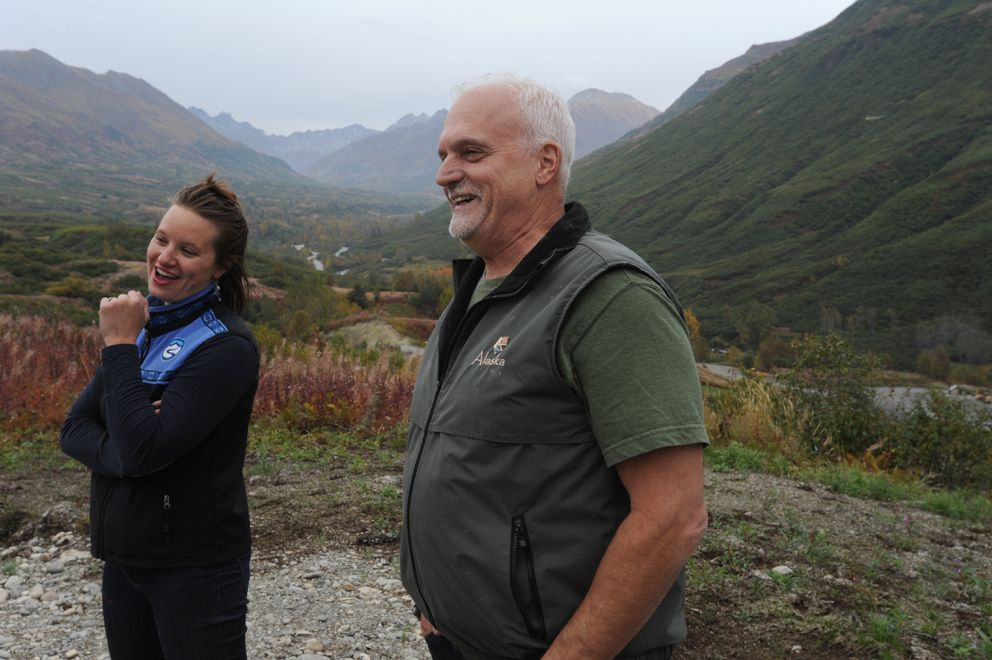 Amy O'Connor, executive director of the nonprofit Hatcher Alpine Xperience, and board secretary Butch Shapiro at the Skeetawk alpine ski area under construction in Hatcher Pass on Thursday, Sept. 12, 2019. They plan to open a triple chair lift this winter. (Bill Roth / ADN)