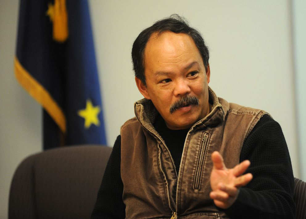 Romy Cadiente, Newtok's relocation coordinator, talks about the threat climate change poses to his villageduring an interview at the headquarters of the Denali Commission in downtown Anchorage. (Bob Hallinen / Alaska Dispatch News)