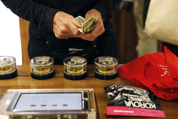 A customer shops at MedMen in West Hollywood on January 2, 2018, the first day of recreational marijuana sales. (Christina House/Los Angeles Times/TNS)
