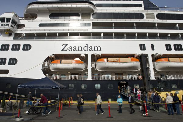 Passengers disembark Monday morning. Zaandam, a 780-foot Holland America cruise ship, arrived in Anchorage early Monday, May 14, 2018. Passengers aboard it are on a two-week cruise that originated in Seattle and traveled to several ports in Southeast Alaska before coming here. The ship has 716 staterooms and can carry more than 1,800 total passengers. In Anchorage, tour buses carried travelers into the city. Their journey continues on to Homer and Kodiak before making the return trip to Seattle. Port of Anchorage external affairs director Jim Jager said the Zaandam will visit Anchorage ten times in 2018. No other cruise ships are scheduled to come here in 2018, he said. (Marc Lester / ADN)
