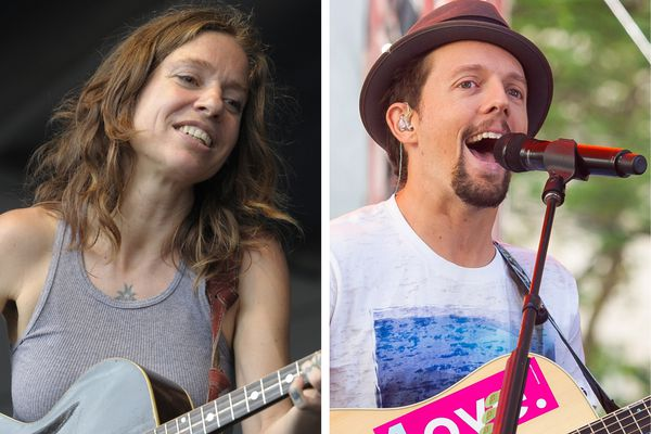 Ani DiFranco, left, and Jason Mraz will headline the 2019 Salmonfest music festival, which will be held Aug. 2-4 in Ninilchik. (Photos by Amy Harris/Invision/AP, left, and Charles Sykes/Invision/AP)