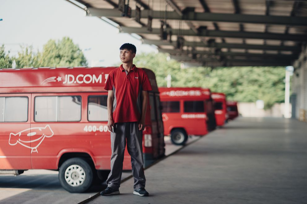 Zou Rui, 25, is an engineer working in China's e-commerce giant JD.com's highly automated warehouse near Shanghai. Photo for The Washington Post by Yuyang Liu.