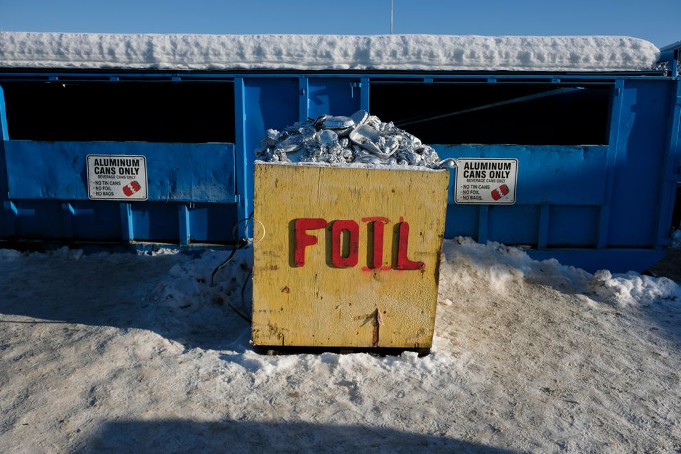 Bins for aluminum cans and foil are part of the WestRock Anchorage Recycling Center on Rosewood Street on February 6, 2017. (Marc Lester / Alaska Dispatch News)