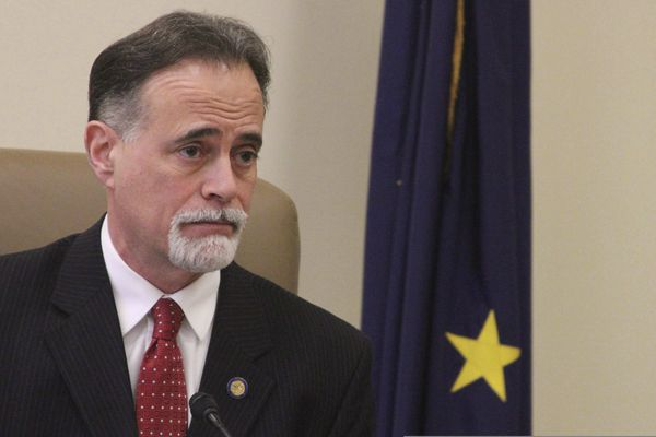FILE - In this Jan. 17, 2017 file photo State Sen. Peter Micciche, R-Soldotna, discusses the Senate Majority's budget priorities ahead of the start of the Alaska legislative session, in Juneau, Alaska. Unofficial results showed three Republican Alaska state legislators, Senate Majority Leader Micciche, House Minority Leader Charisse Millett and House Rules Chair Gabrielle LeDoux, all of whom hold leadership positions trailing in their primary elections. Those results could change when questioned and absentee ballots are counted. The Division of Elections on Wednesday, Aug. 22, 2018, said it was processing ballots and did not yet have a number of questioned or absentee ballots. (AP Photo/Mark Thiessen, File)