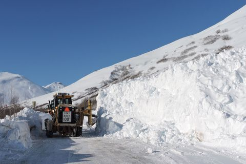 AK DOT crews clear an avalanche off the road to Hatcher Pass, Wednesday, March 21, 2018. The avalanche closed the road to Hatcher Pass between the Gold Mint trailhead and Archangel Road, Monday, March 19, 2018.