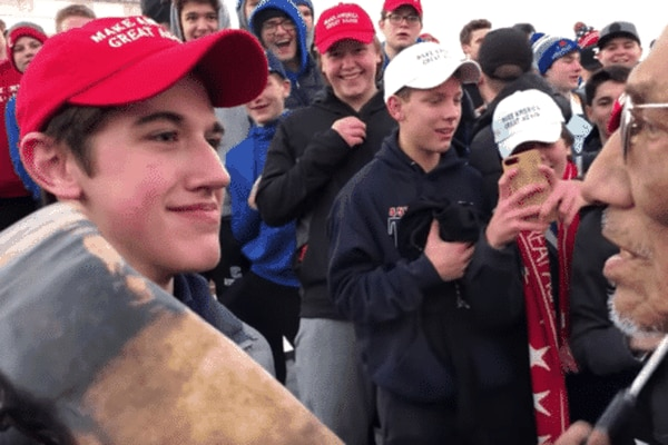 Nick Sandmann, the Kentucky high school student whose face became widely known after he stood in front of drum-banging Native American elder Nathan Phillips on the Mall in Washington. (YouTube)
