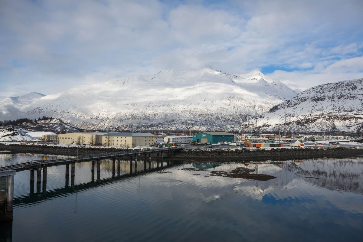 The town of Valdez, seen from the helipad of the 500-2 barge at the SERVS facility on Feb. 15, 2016. (Loren Holmes / ADN)