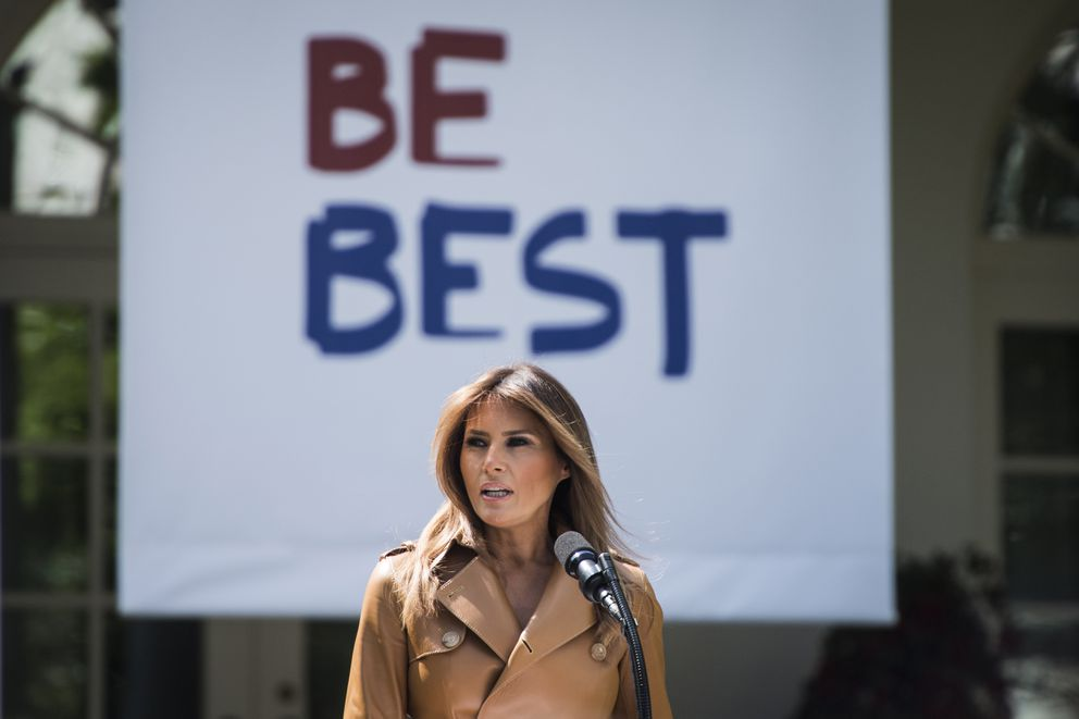 First lady Melania Trump speaks about her anti-bullying Be Best program at the White House Rose Garden on May 7, 2018. (Washington Post photo by Jabin Botsford)