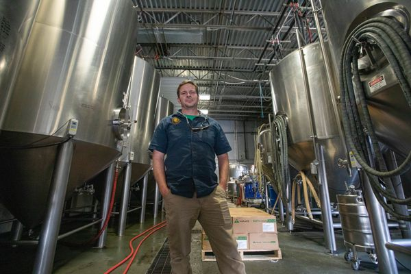 Lee Ellis, director of operations at Midnight Sun Brewing, photographed in the brewery on Thursday, Aug. 29, 2019. Ellis is also president of Brewers Guild of Alaska. (Loren Holmes / ADN)